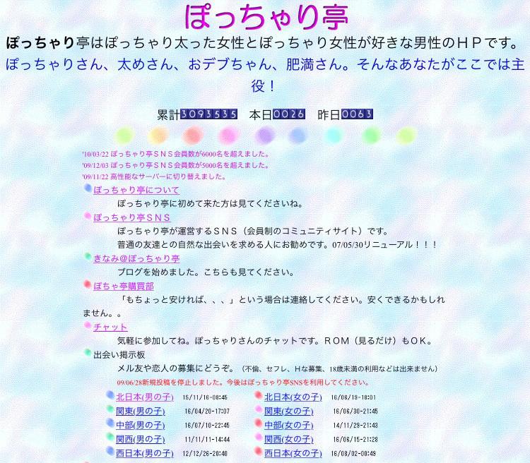 ぽっちゃり亭のトップページ